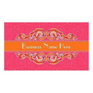 Rosas fuertes modernas de la mandarina del corazón tarjetas de visita