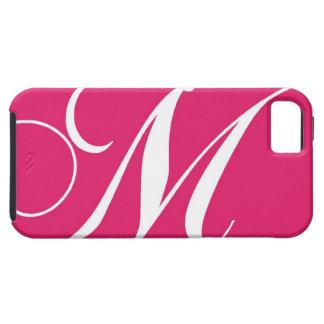 Rosas fuertes, monograma blanco M de la escritura iPhone 5 Carcasas