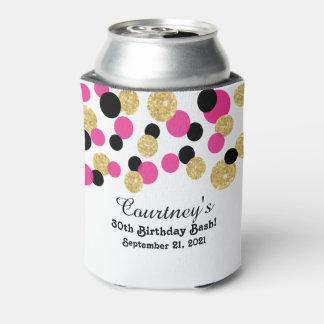 Rosas fuertes, negro y trigésimo del confeti el | enfriador de latas