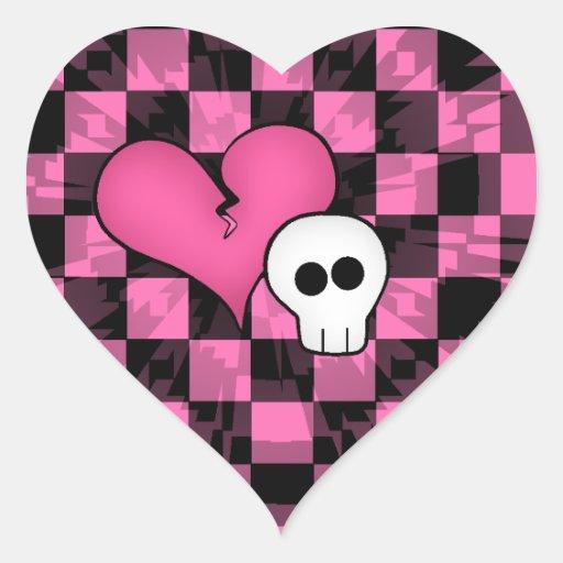 Rosas fuertes punkyes lindas y cráneo hearted roto calcomanías de corazones personalizadas