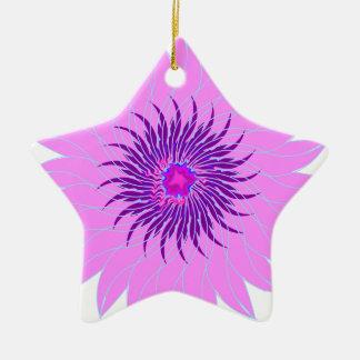 Rosas fuertes púrpuras lavendar de la flor adorno de cerámica en forma de estrella