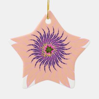 Rosas fuertes púrpuras lavendar del melocotón de adorno de cerámica en forma de estrella