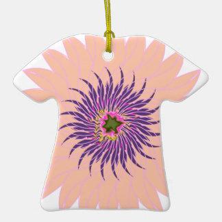 Rosas fuertes púrpuras lavendar del melocotón de adorno de cerámica en forma de playera