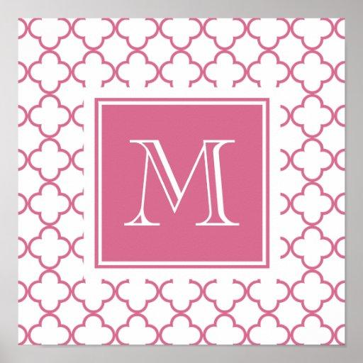 Rosas fuertes Quatrefoil blanco el   su monograma Impresiones