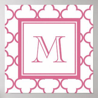 Rosas fuertes Quatrefoil blanco el | su monograma Póster