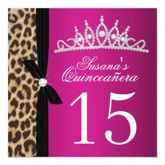 """rosas fuertes Quinceanera del leopardo Invitación 5.25"""" X 5.25"""""""