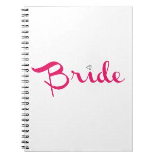Rosas fuertes retras de la escritura de la novia libro de apuntes