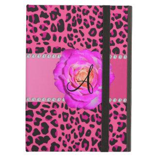 Rosas fuertes rosadas del leopardo del monograma s