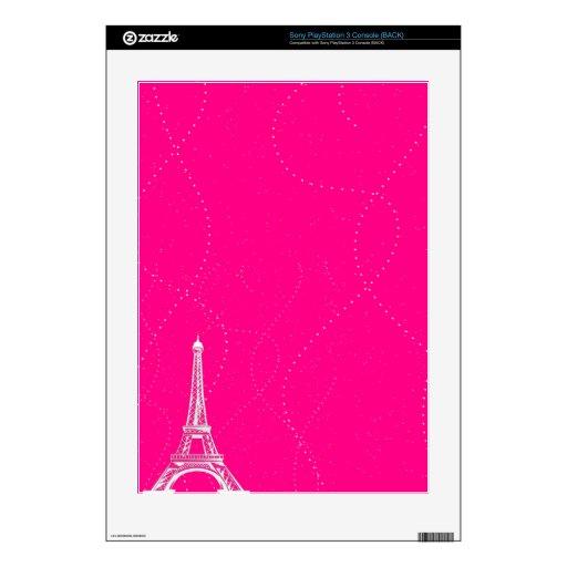 Rosas fuertes vibrantes con la torre Eiffel blanca Skin Para laConsola PS3
