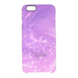 rosas fuertes y corazones que remolinan púrpuras funda clear para iPhone 6/6S