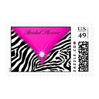 Rosas fuertes y ducha nupcial de la cebra sello postal