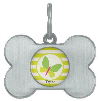 Rosas fuertes y mariposa verde de neón; Rayas Placa Mascota