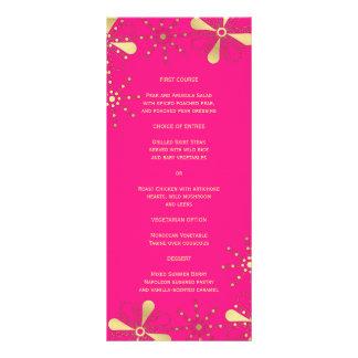 Rosas fuertes y menú delgado inspirado indio de la tarjetas publicitarias a todo color