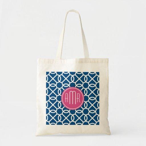 Rosas fuertes y monograma geométrico azul del mode bolsa tela barata