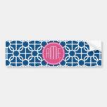 Rosas fuertes y monogramas geométricos azules del  etiqueta de parachoque