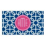Rosas fuertes y monogramas geométricos azules del  plantilla de tarjeta de negocio