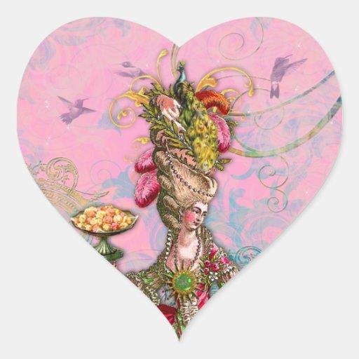 Rosas fuertes y pavo real de Marie Antonieta Pegatina En Forma De Corazón