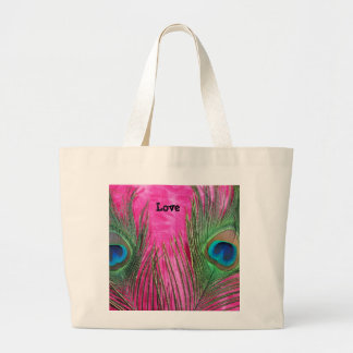 Rosas fuertes y plumas del pavo real bolsa