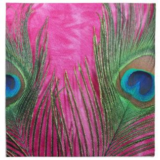 Rosas fuertes y plumas del pavo real servilleta