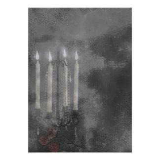 Rosas góticos de la luz de la vela del resplandor comunicado personal