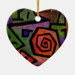 Rosas heroicos por el arte abstracto de Paul Klee Adorno Navideño De Cerámica En Forma De Corazón