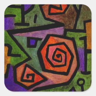 Rosas heroicos por el arte abstracto de Paul Klee Calcomanías Cuadradas Personalizadas