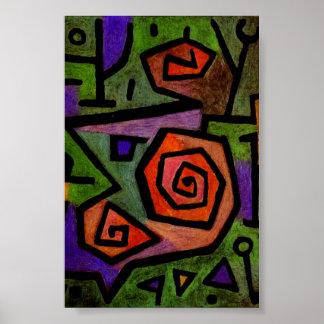Rosas heroicos por el poster del arte abstracto de