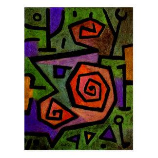 Rosas heroicos por la postal del arte abstracto de