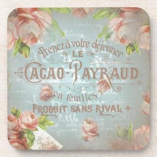 rosas históricos florales del azul francés del posavaso