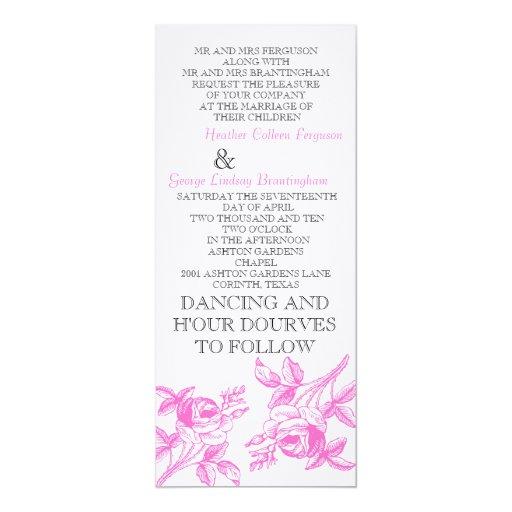 Rosas ingleses en la iniciación rosada del boda invitación 10,1 x 23,5 cm