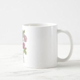 Rosas ingleses viejos rosados bordados taza