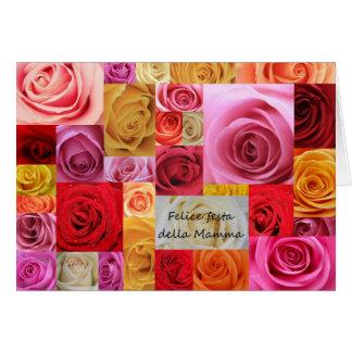 Rosas italianos del remiendo del día de madre tarjetón