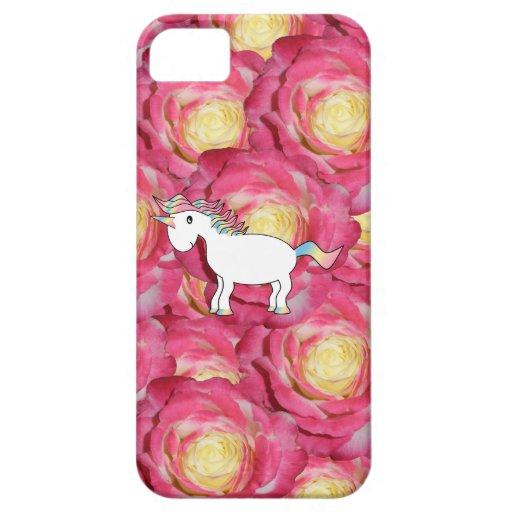 Rosas lindos del rosa del unicornio iPhone 5 Case-Mate cobertura