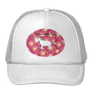 Rosas lindos del rosa del unicornio gorras