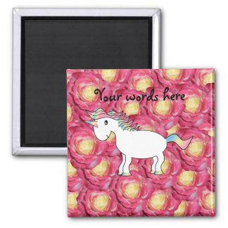 Rosas lindos del rosa del unicornio imán cuadrado