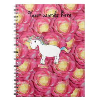 Rosas lindos del rosa del unicornio libretas espirales