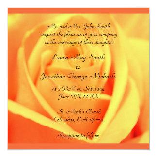 Rosas - mango - frontera de la puesta del sol - el invitación 13,3 cm x 13,3cm