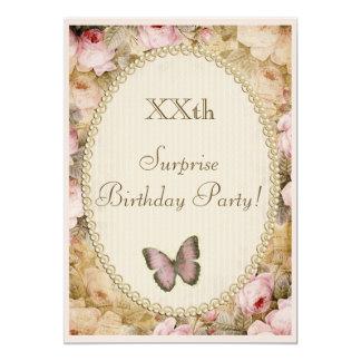 """Rosas mariposa, música del cumpleaños de la invitación 5"""" x 7"""""""