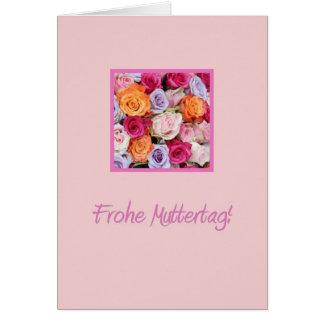 Rosas mezclados alemanes del día de madre felicitación