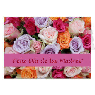 Rosas mezclados españoles del día de madre tarjeta