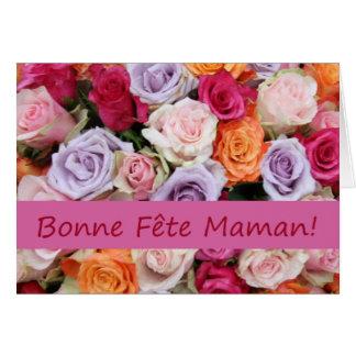 Rosas mezclados franceses del día de madre felicitacion