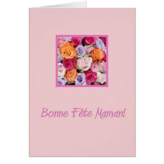 Rosas mezclados franceses del día de madre tarjeton