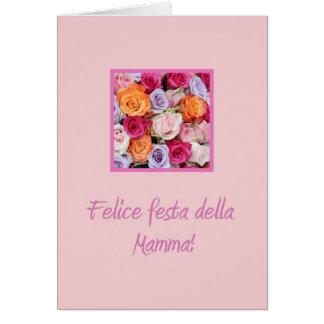Rosas mezclados italianos del día de madre tarjetas