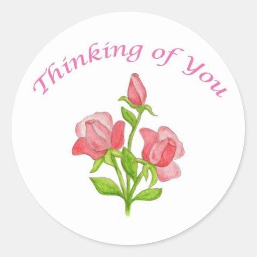 Rosas miniatura que piensan en usted pegatina