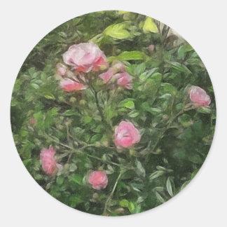 Rosas miniatura rosados 1 pegatina redonda