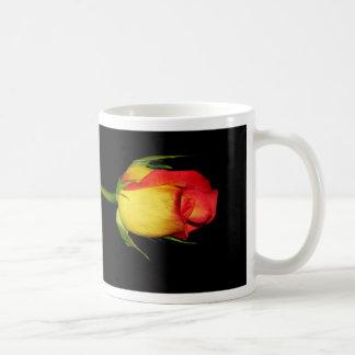 Rosas naranja-amarillos taza básica blanca