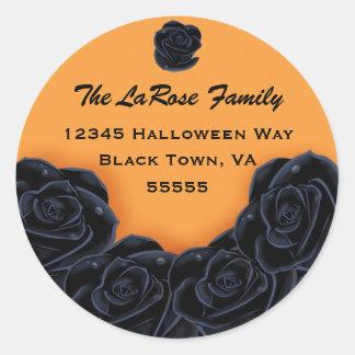 Rosas negros elegantes etiqueta redonda