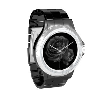 Rosas negros románticos góticos relojes de mano