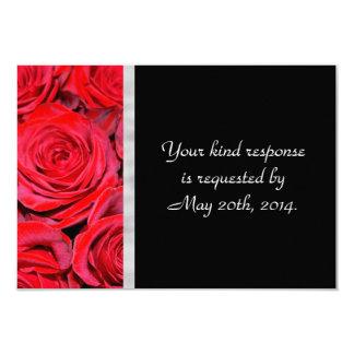"""Rosas negros y rojos RSVP Invitación 3.5"""" X 5"""""""