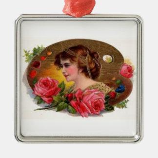 Rosas para la madre - vintage adorno navideño cuadrado de metal